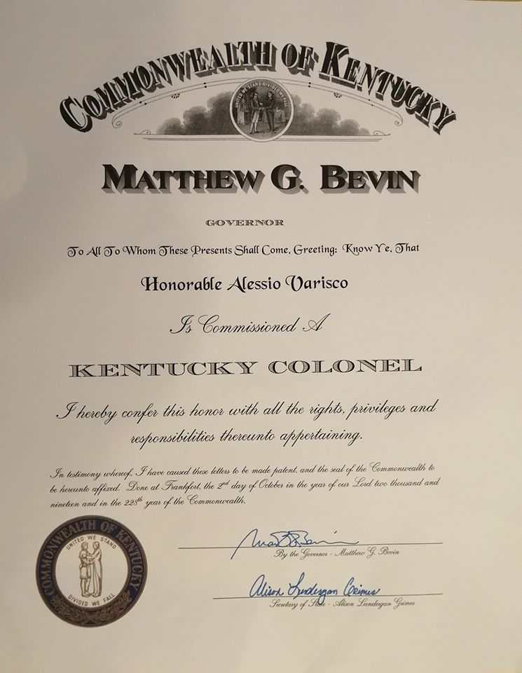 The Honorable ALESSIO VARISCO Kentucky Colonel